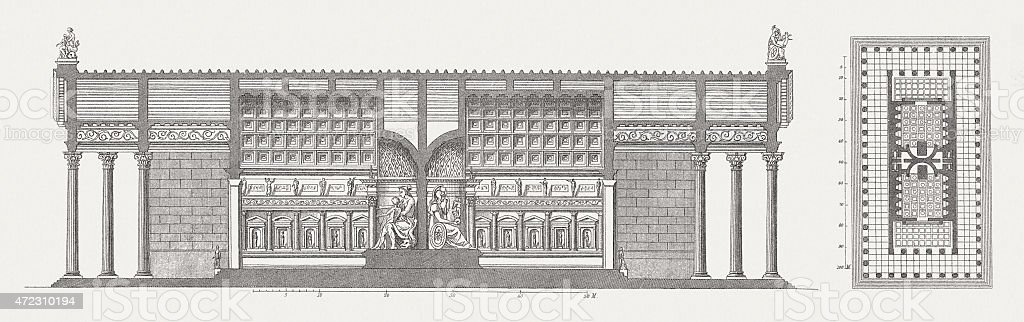 Temple of Venus and Roma, Rome, publ. 1874 vector art illustration