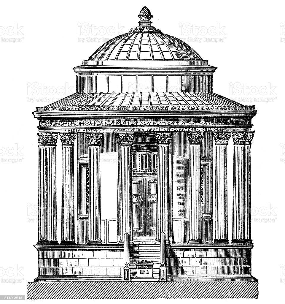 Temple of Vesta, in Tivoli vector art illustration