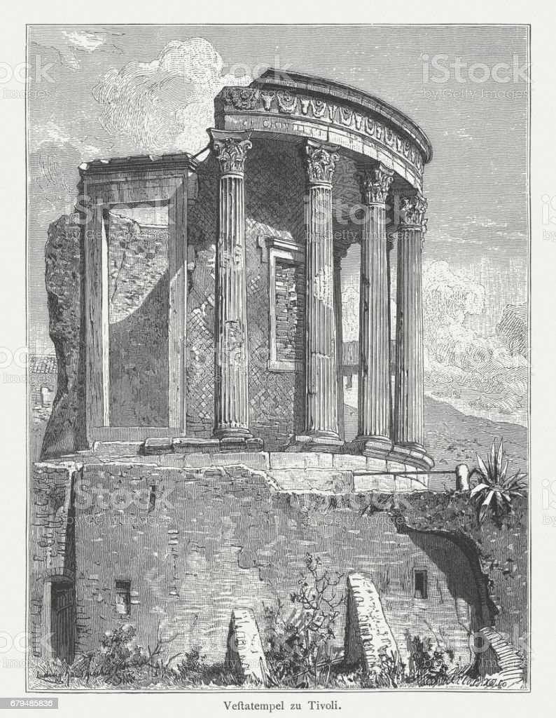 Temple of Vesta, Tivoli, Italy, wood engraving, published in 1884 vector art illustration