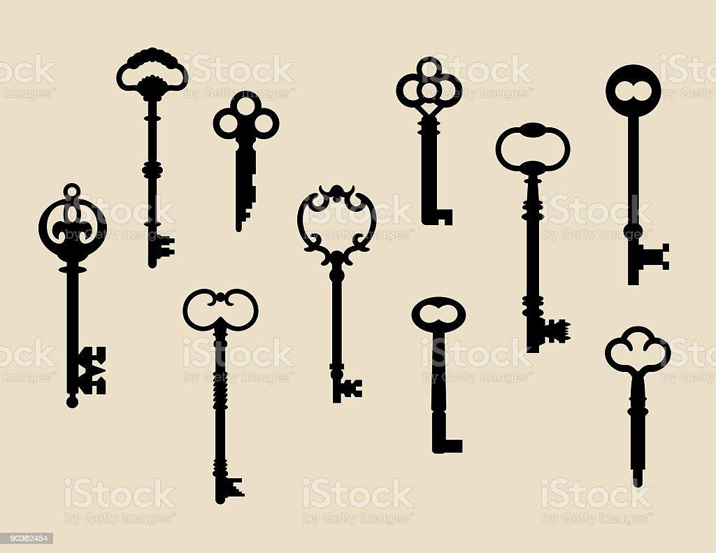Ten Skeleton Keys royalty-free stock vector art