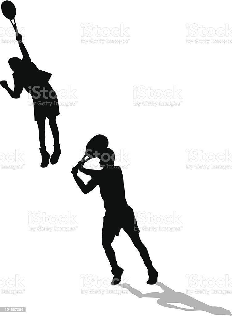 Tennis Action Sillouette royalty-free stock vector art