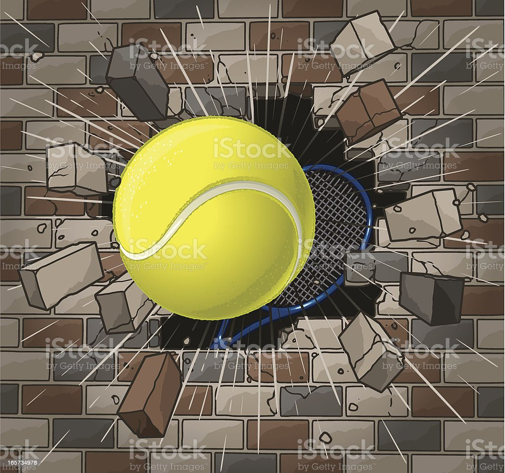 Tennis Ball and Racket with Brick Wall royalty-free stock vector art