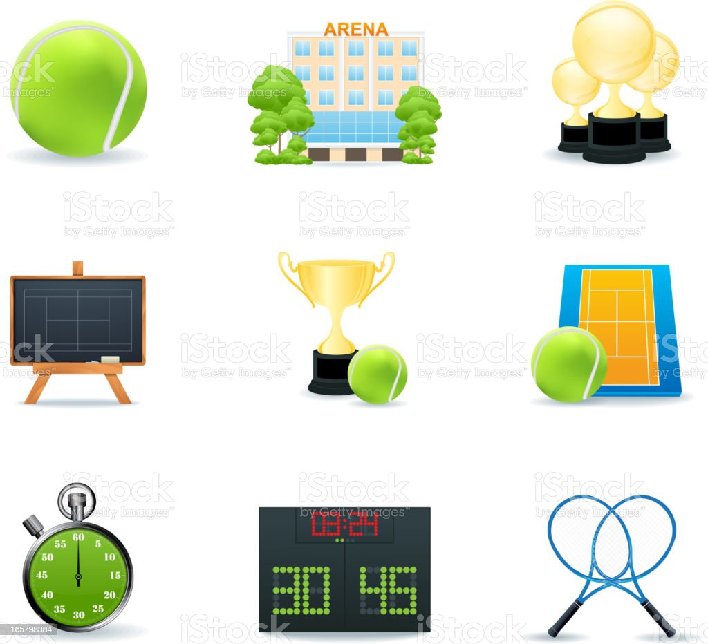 Tennis icons royalty-free stock vector art