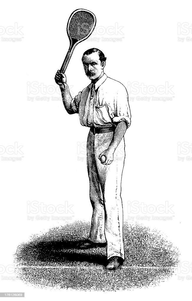 Tennis Player | Antique Sport Illustrations vector art illustration