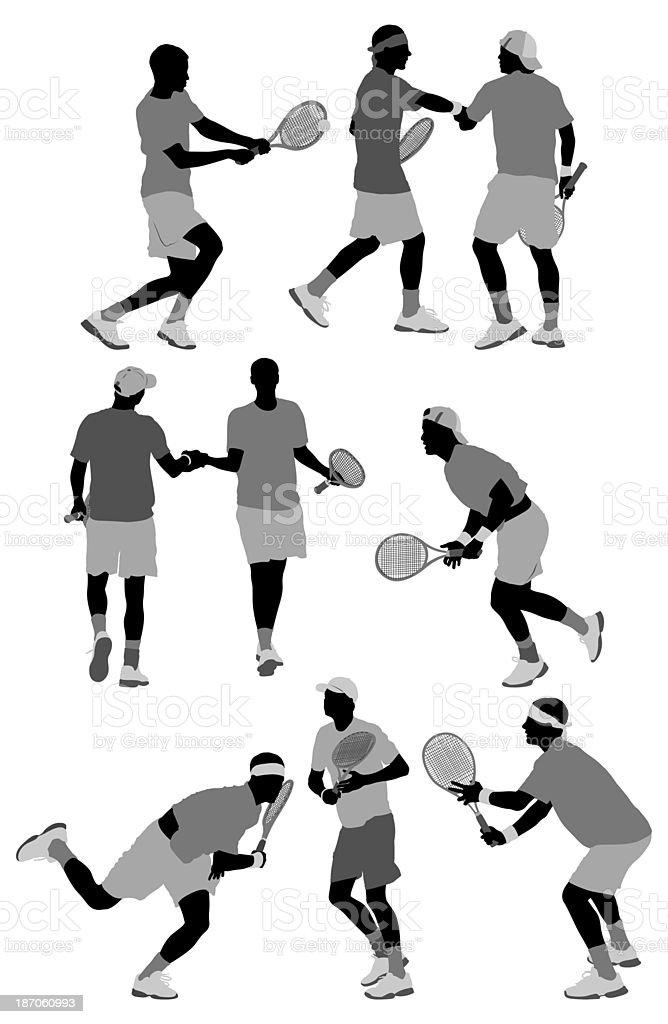 Tennis player in action vector art illustration
