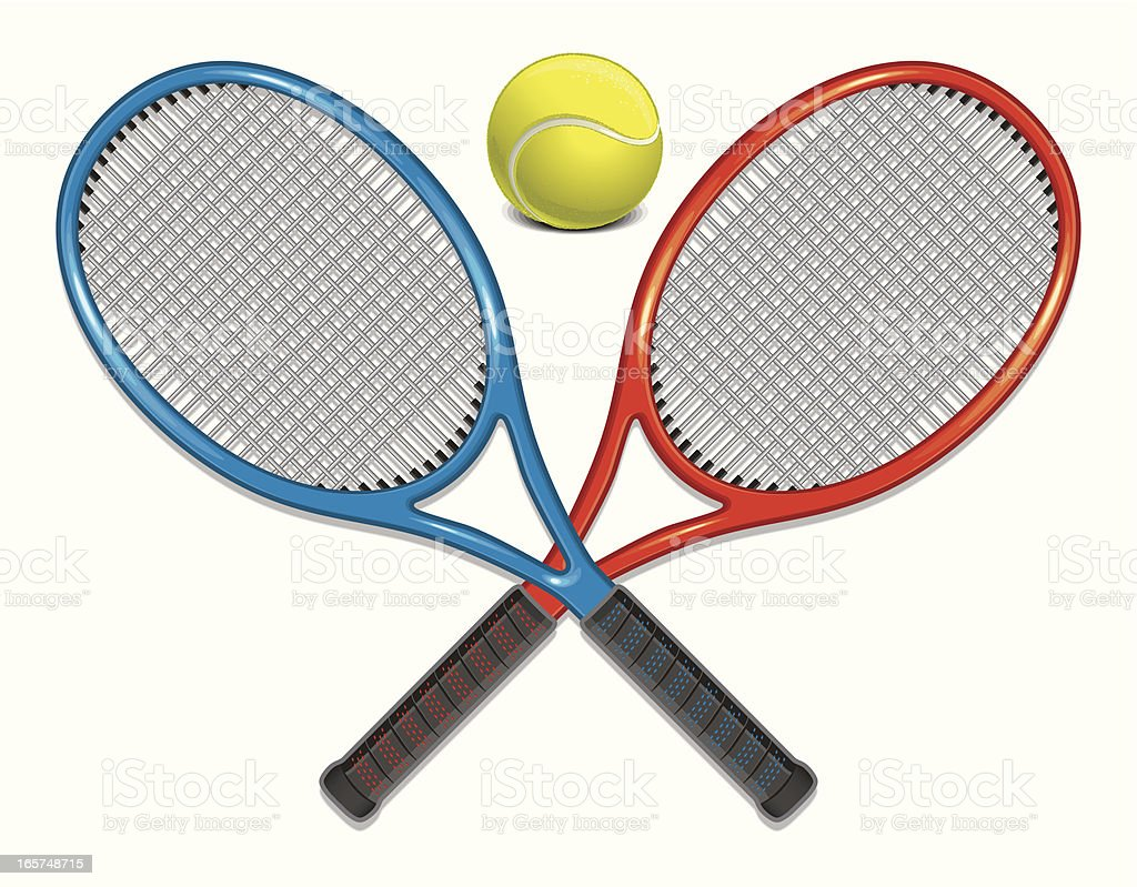 Tennis Rackets and Ball royalty-free stock vector art
