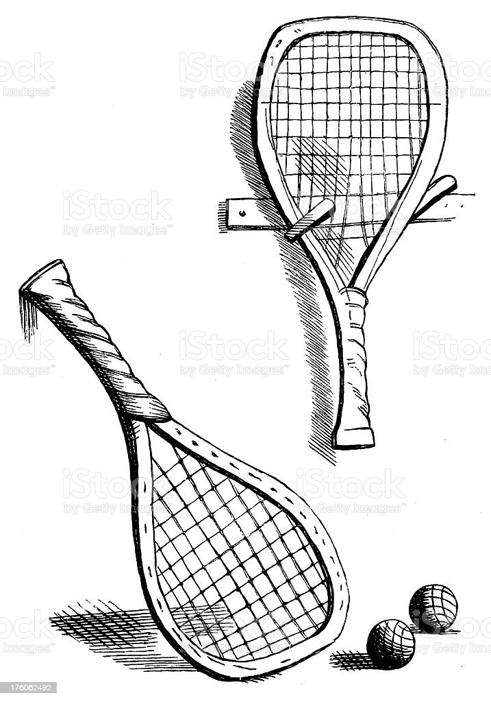 Tennis rackets | Antique Sport Illustrations vector art illustration