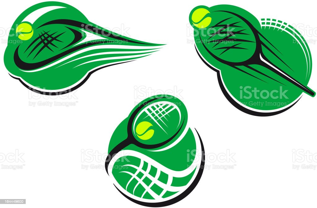 Tennis sports icons and symbols royalty-free stock vector art
