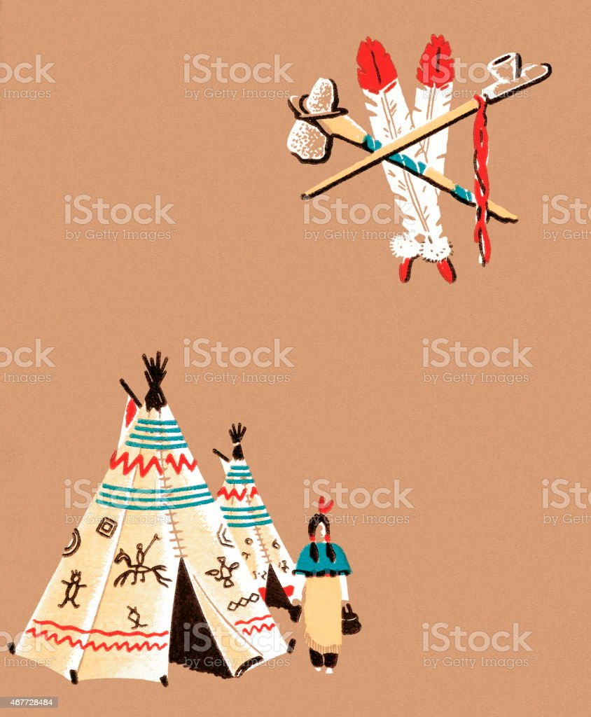 Tepees vector art illustration