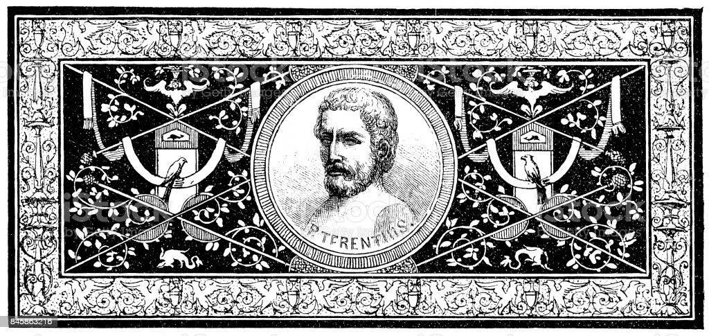 Terence (195/185–159 BC), Roman playwright vector art illustration