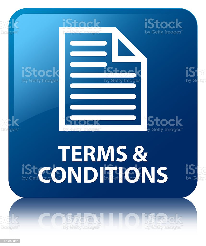 Terms and conditions (page icon) blue square button vector art illustration