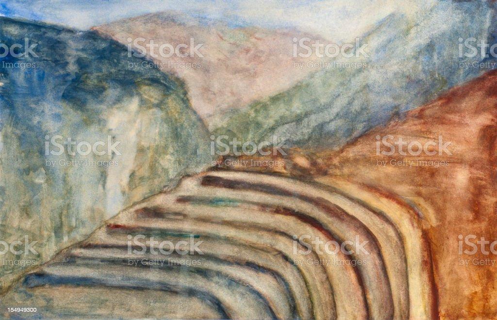Terrace Landscape Painting vector art illustration