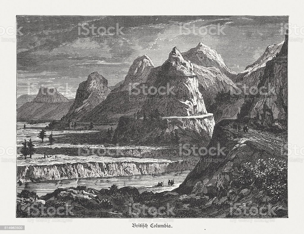 Terraces of the Fraser River, British Columbia, Canada, published 1880 vector art illustration