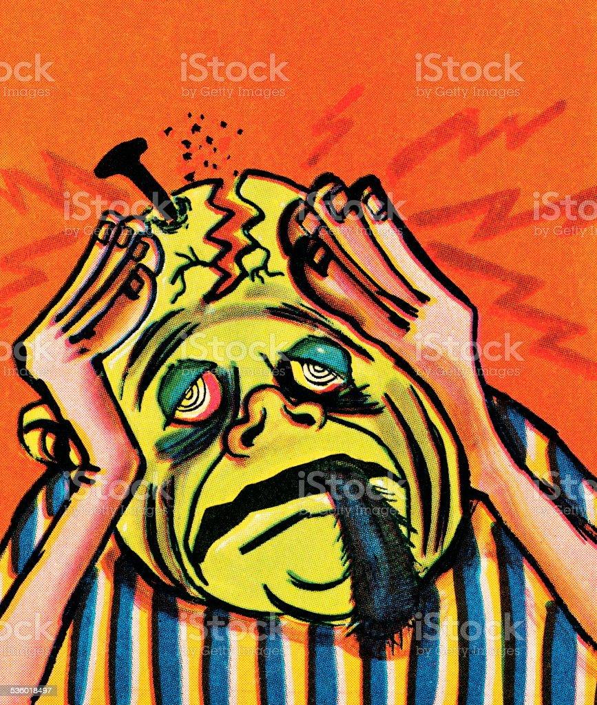 Terrible headache vector art illustration