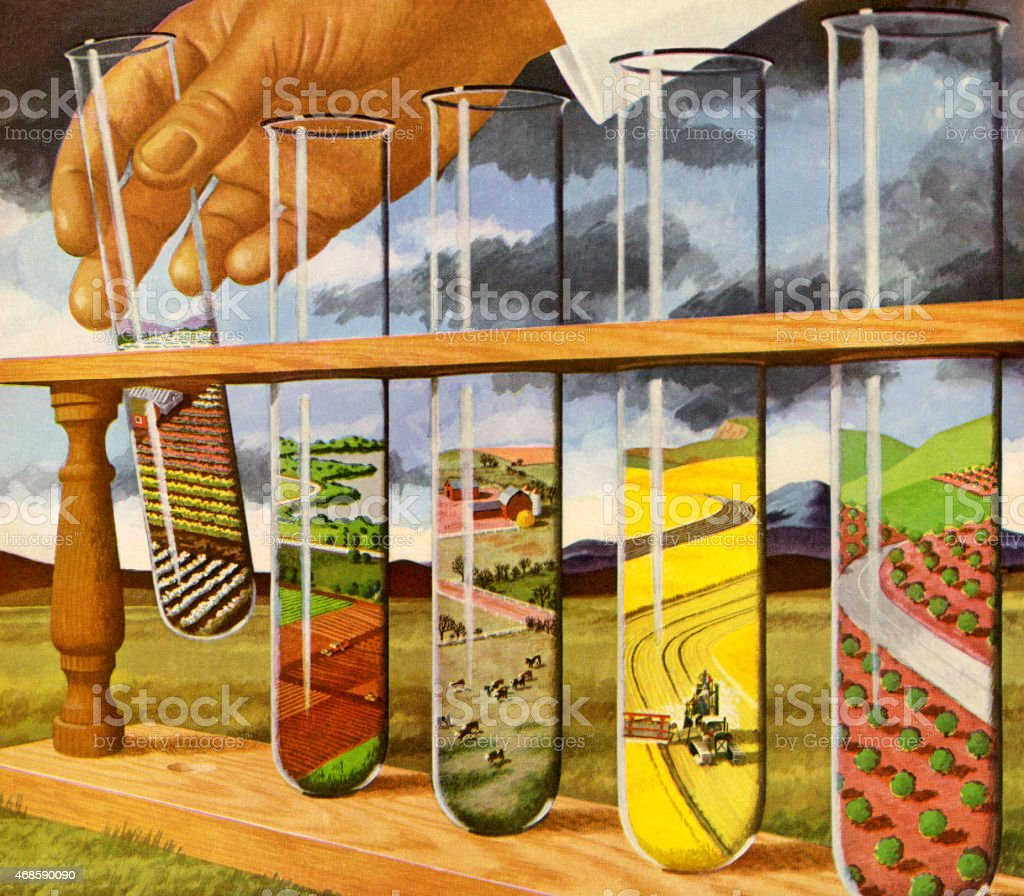 Test Tubes Showing Farm Fields vector art illustration
