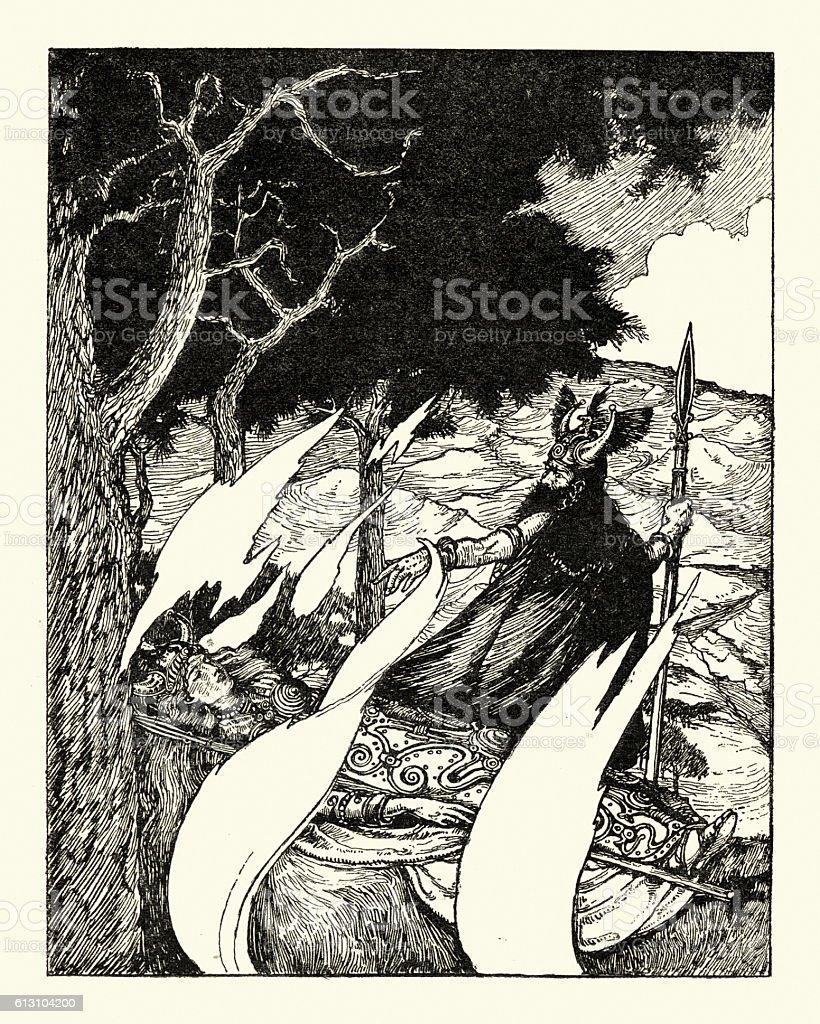 Teutonic mythology - Wotan's abschied vector art illustration