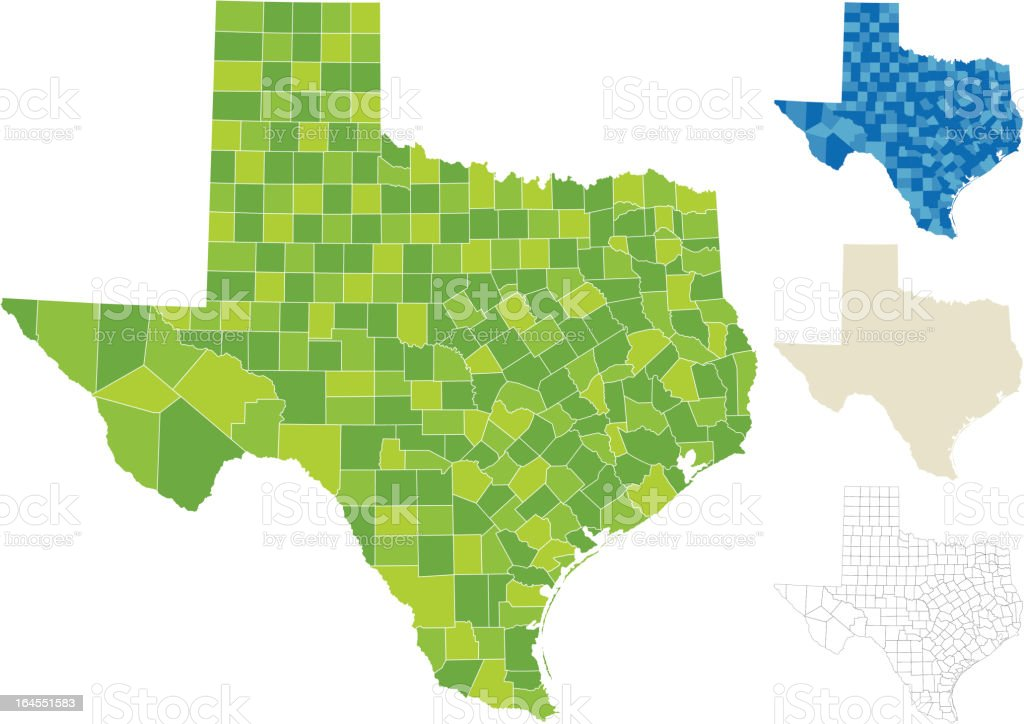 Texas County Map royalty-free stock vector art