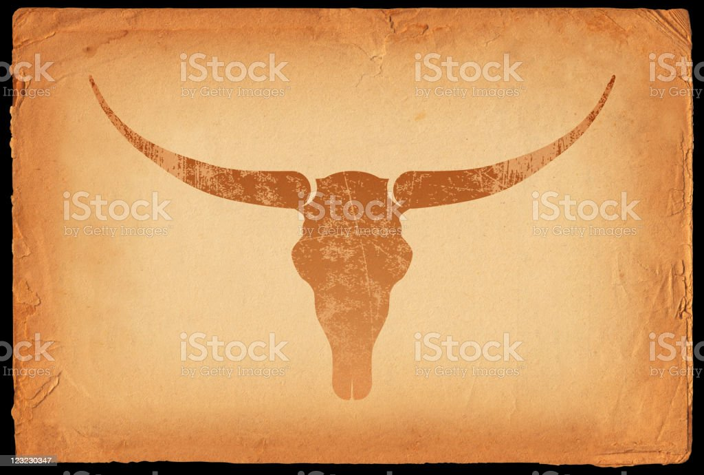 Texas longhorn skull on old paper Background royalty-free stock vector art