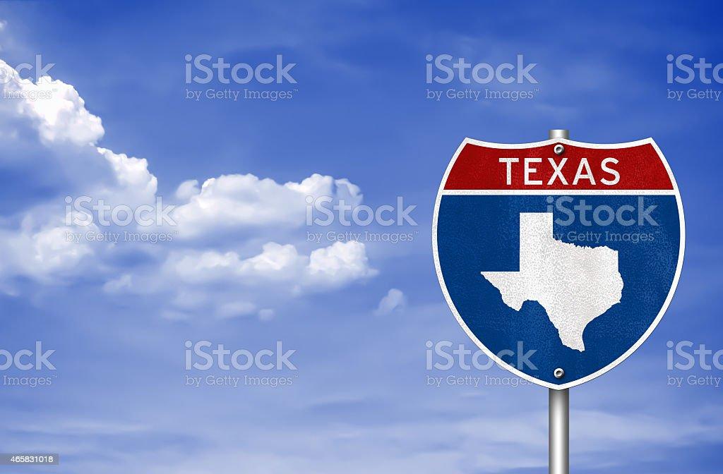 Texas road sign concept vector art illustration