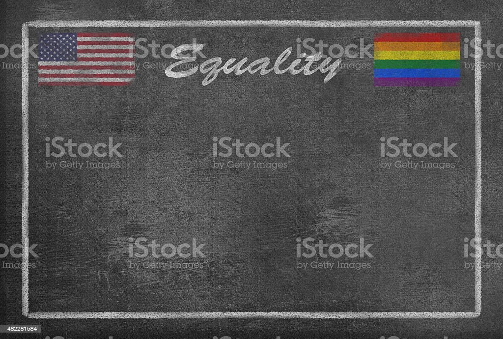 Text Equality with Gay Pride and US Flag on Blackboard vector art illustration