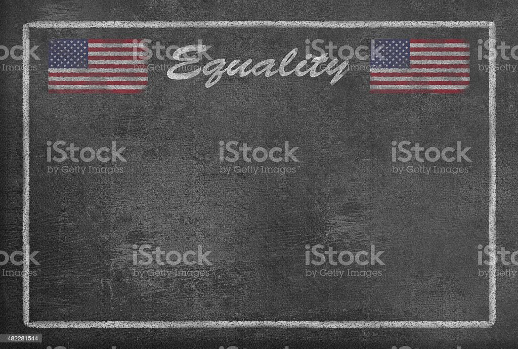 Text Equality with US Flag on Blackboard vector art illustration