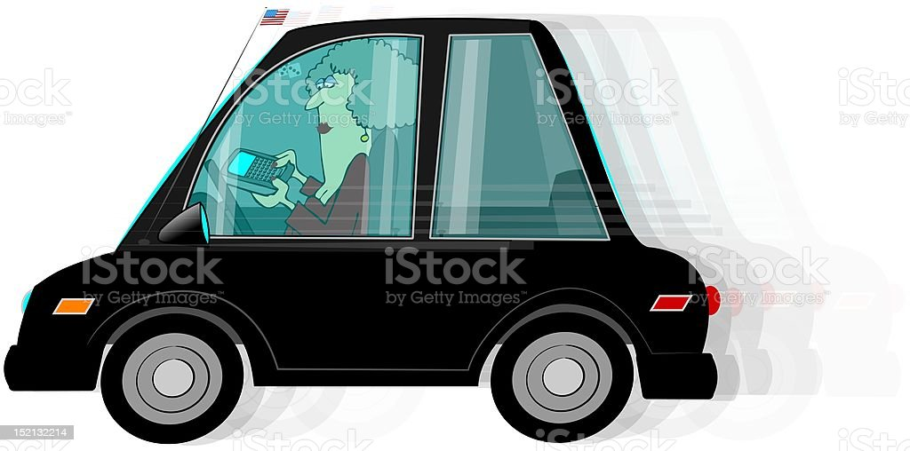 Texting While Driving vector art illustration
