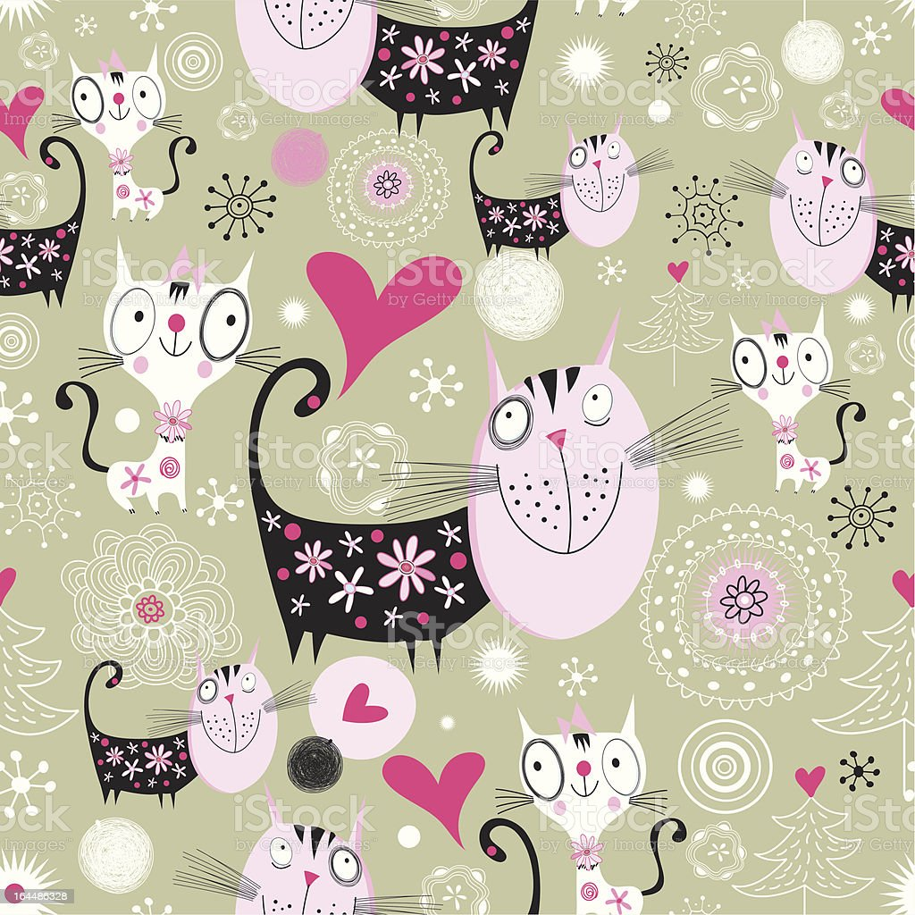 texture with lovers cats royalty-free stock vector art