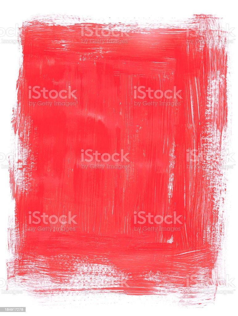 Textured brush painted red frame vector art illustration