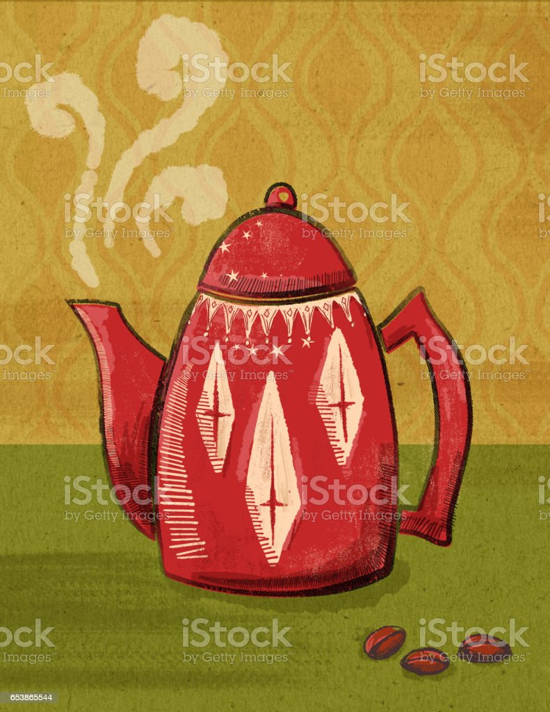 Textured Illustration Of A Retro Coffee Pot vector art illustration