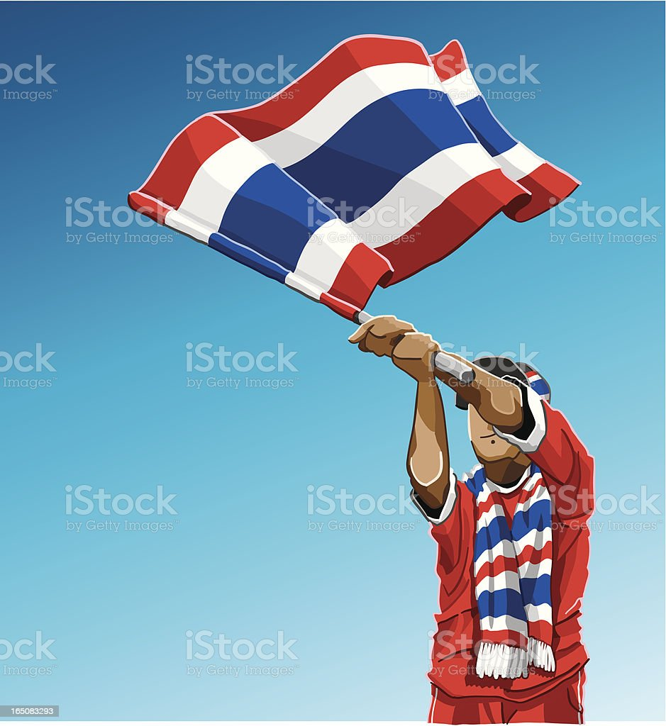 Thailand Waving Flag Soccer Fan royalty-free stock vector art