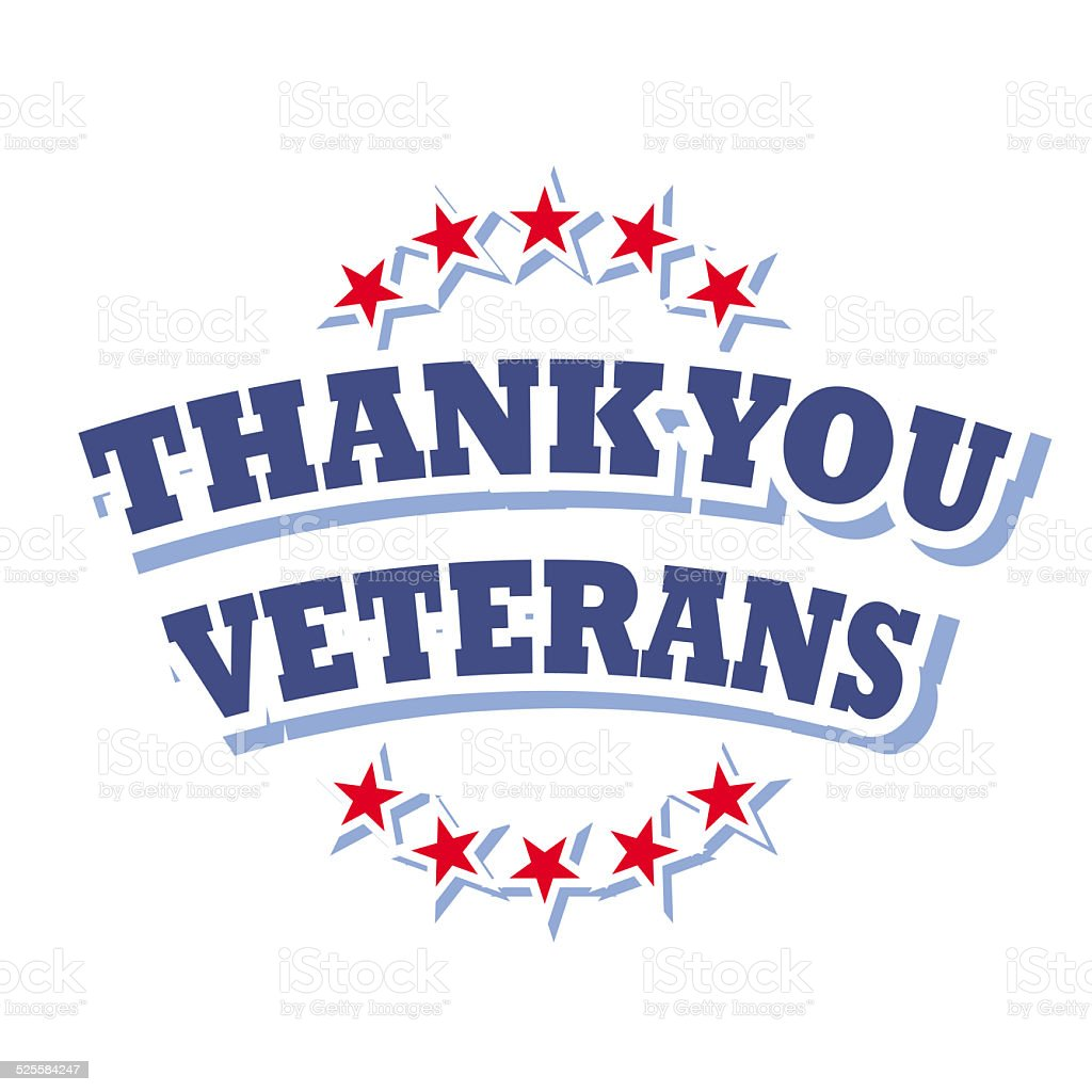 thank you veterans vector art illustration