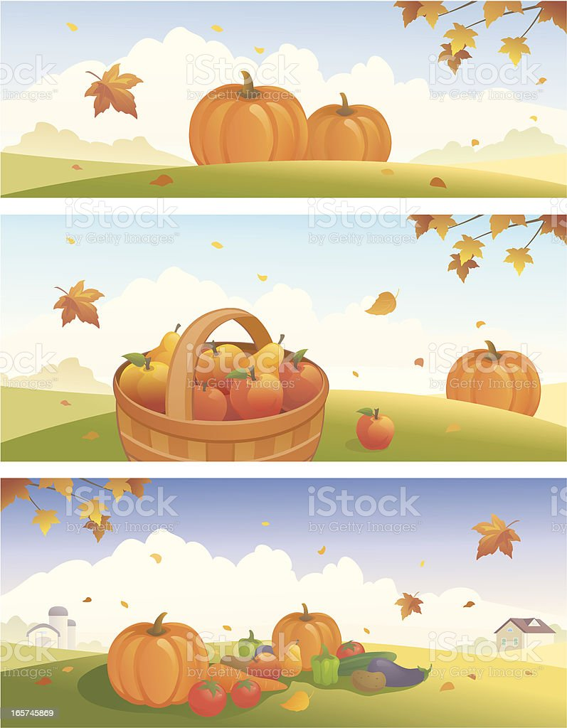 Thanksgiving and harvest banners vector art illustration