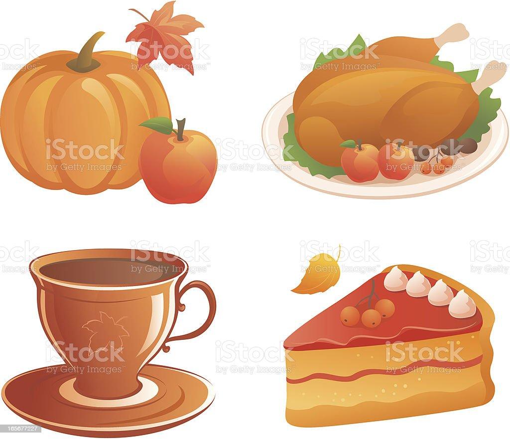Thanksgiving food icon set vector art illustration