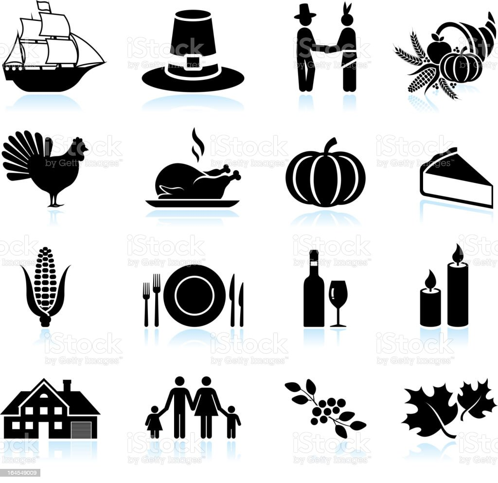 Thanksgiving holiday celebration black & white icon set vector art illustration
