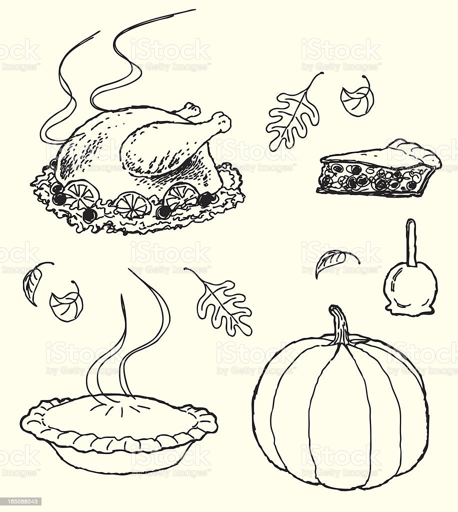 Thanksgiving Icons - sketch style vector art illustration