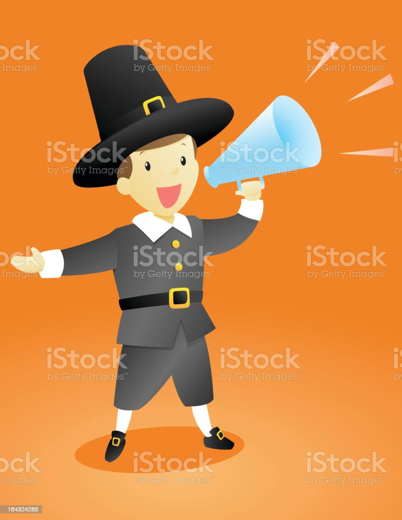 Thanksgiving Pilgrim Announcement Guy royalty-free stock vector art