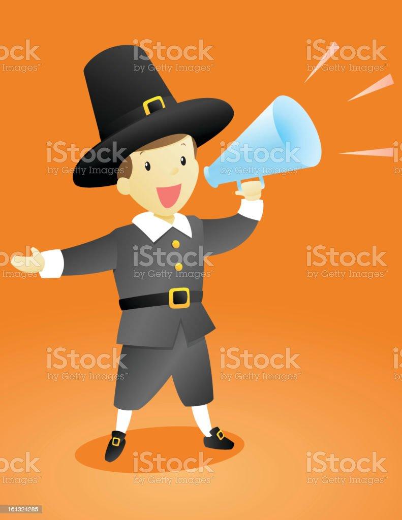Thanksgiving Pilgrim Announcement Guy vector art illustration