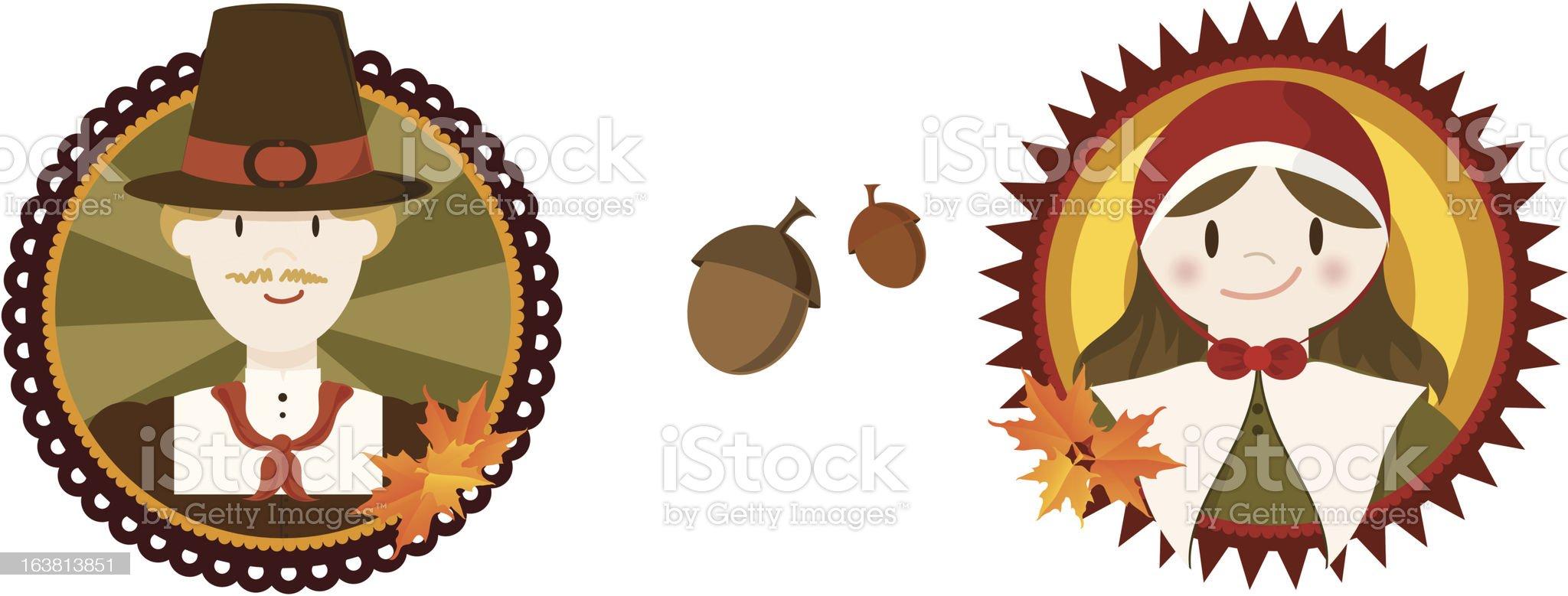 Thanksgiving Pilgrims royalty-free stock vector art