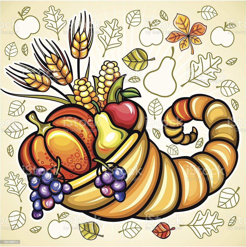 Thanksgiving theme: Harvest cornucopia royalty-free stock vector art