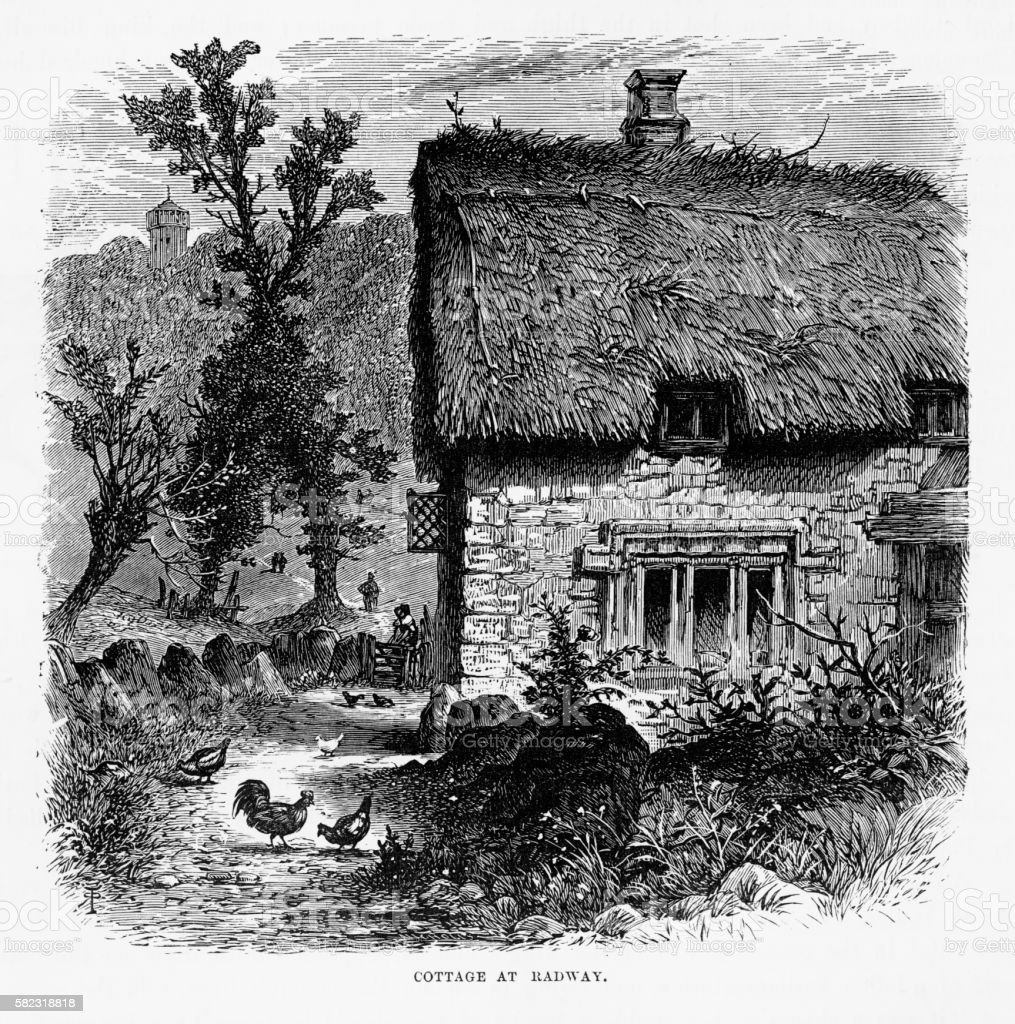 Thatch Roof Cottage in Radway, England Victorian Engraving, Circa 1840 vector art illustration