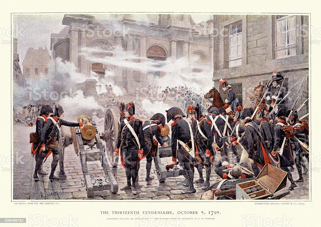 The 13 Vendemiaire, 1795 - Bonaparte quelling the insurrection vector art illustration