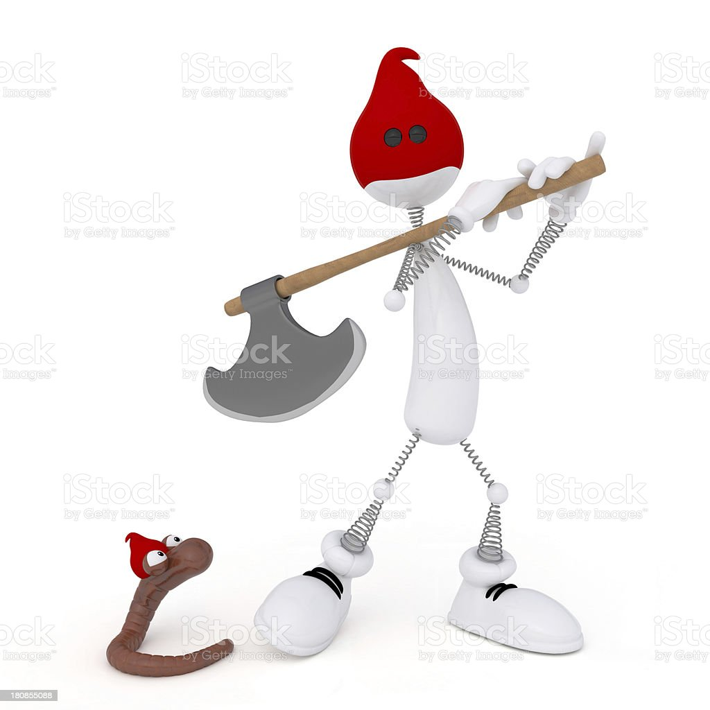 The 3D little man with an axe. royalty-free stock vector art