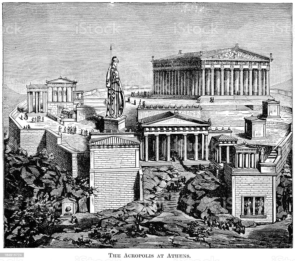 The Acropolis Of Athens, Greece vector art illustration