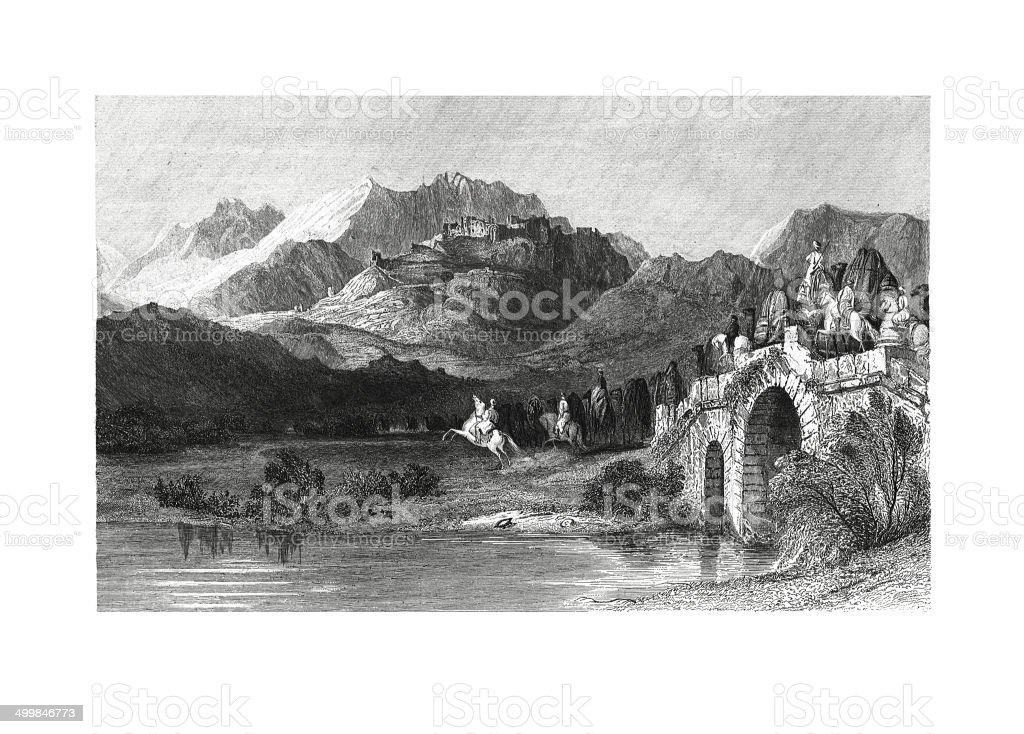 The Acropolis of Pergamus (antique engraving) vector art illustration