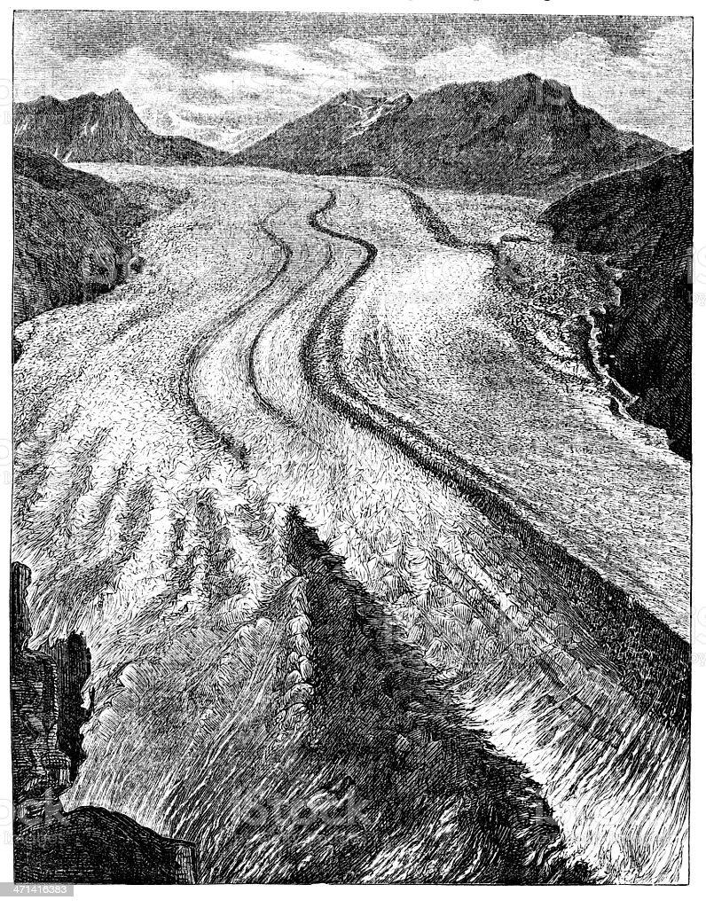 The Aletsch Glacier 1862 journal royalty-free stock vector art