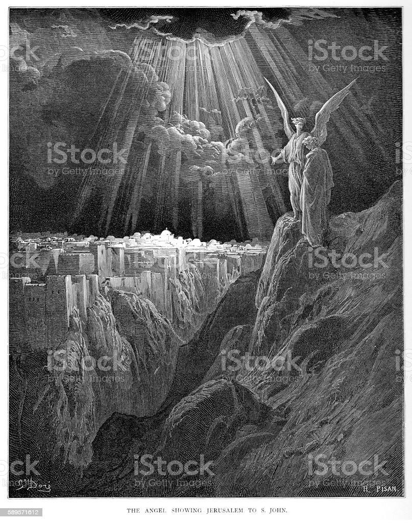 The Angel showing Jerusalem to St. John 1870 vector art illustration