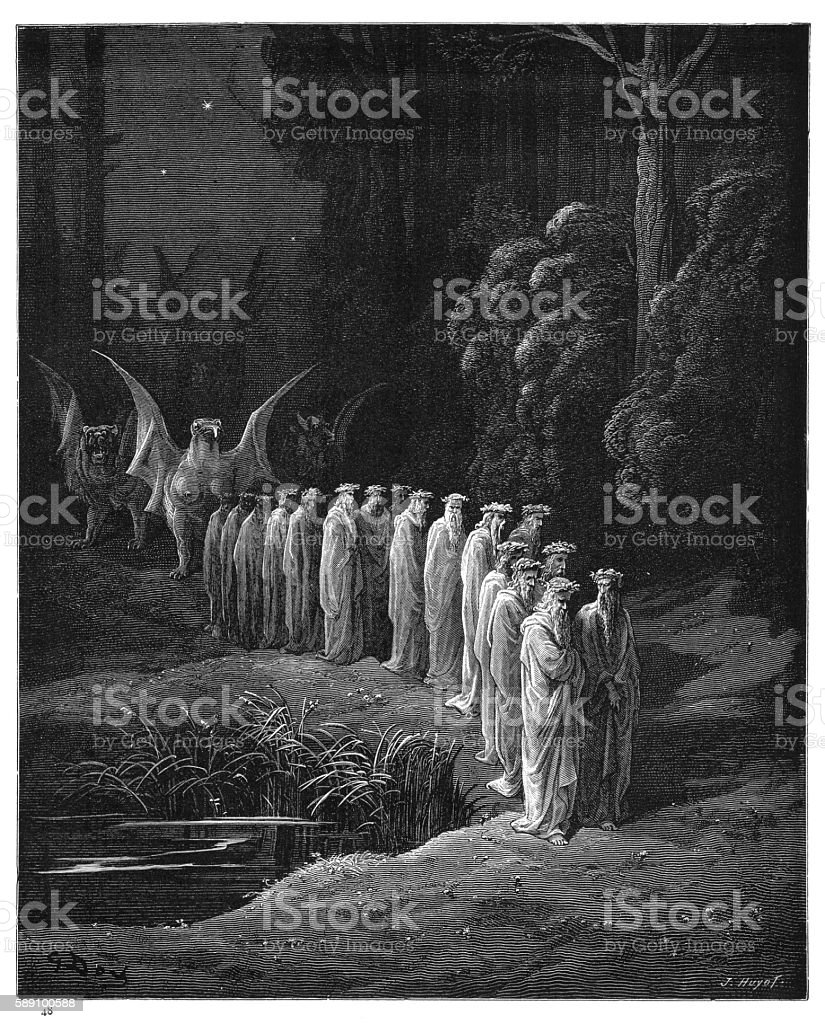 The Apocalyptic Procession engraving 1870 vector art illustration