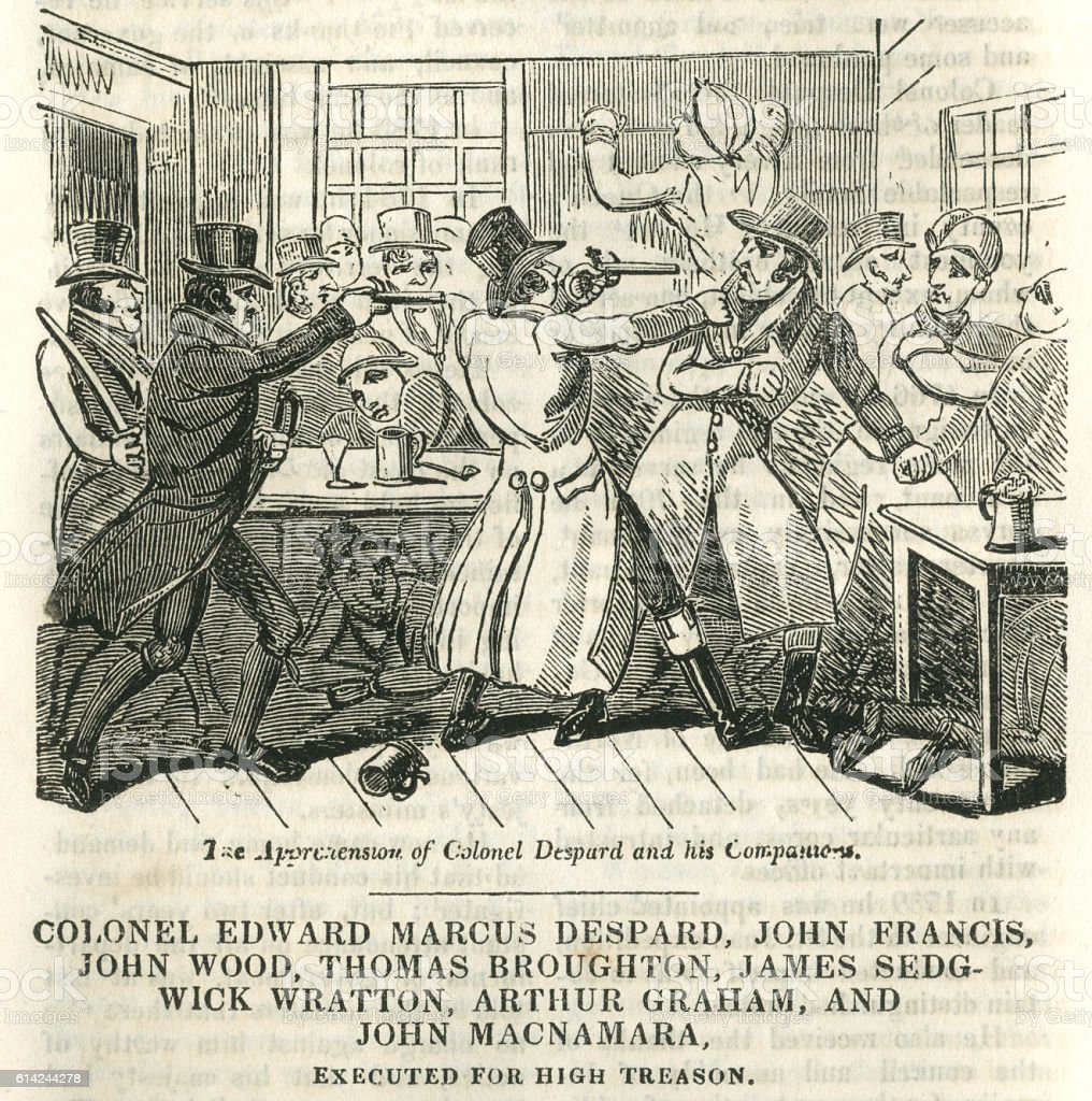The arrest of plotters planning to kill King George III vector art illustration
