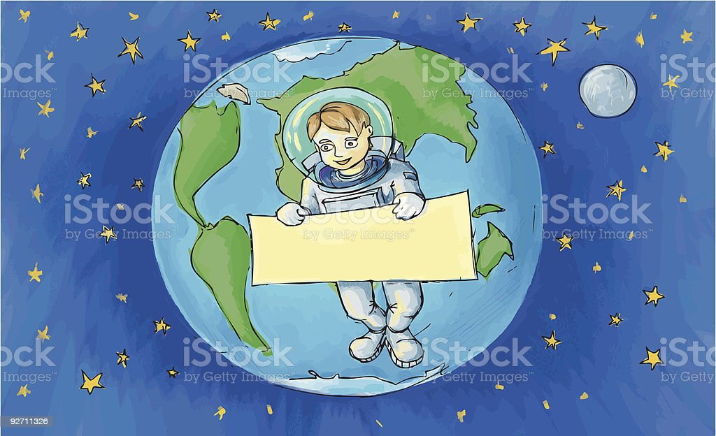 The astronaut with an empty billboard royalty-free stock vector art