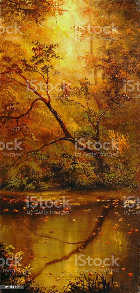 The autumn leaf on water royalty-free stock vector art
